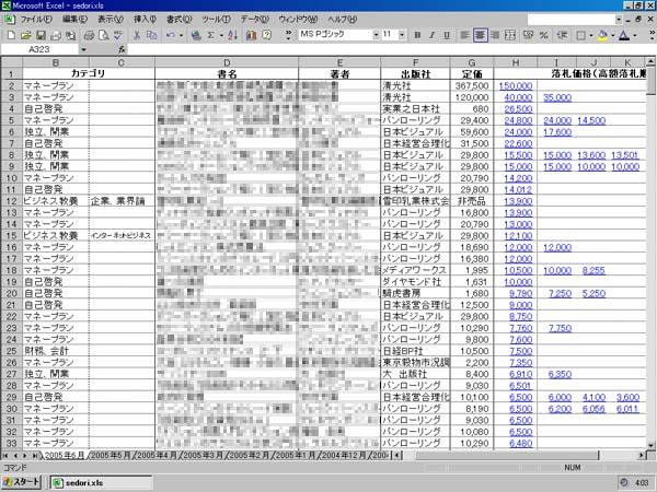 せどり用の高額落札書籍ビジネス書2005年6月のエクセルリストの画像